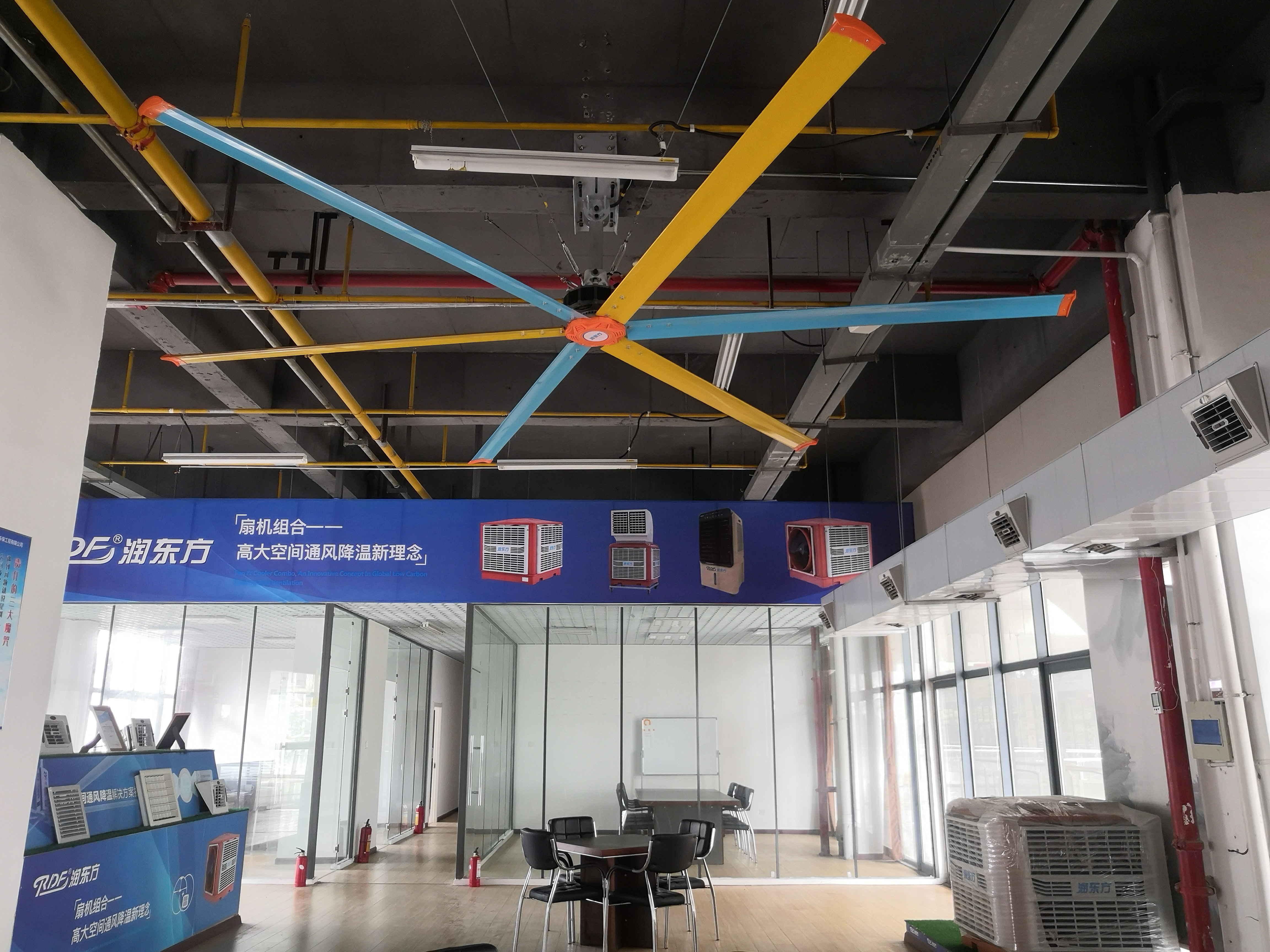 """润东方工业大风扇及""""扇机互补""""组合在展厅会馆中心的应用"""